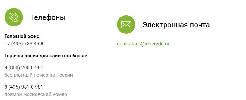 Ренессанс Кредит контакты