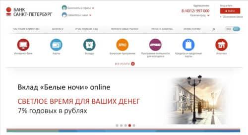 Банк Санкт-Петербург главная страница