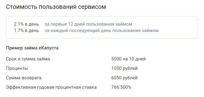 Стоимость займа в Екапуста