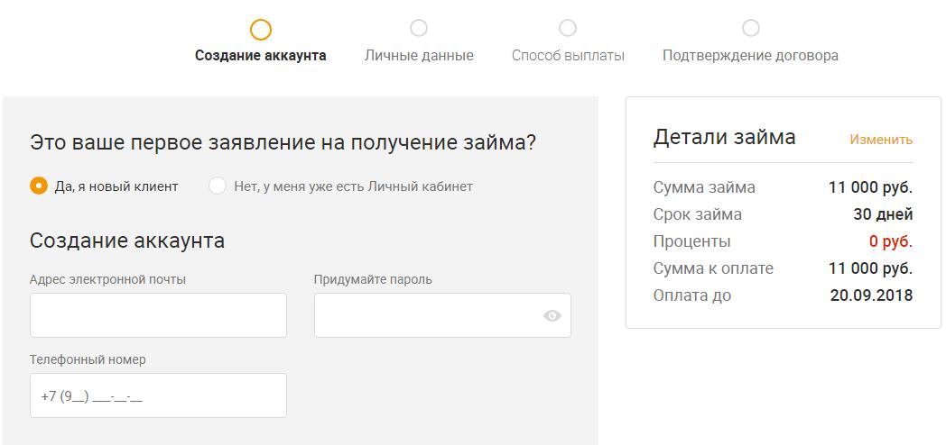 Регистрация личного кабинета Метрокредит